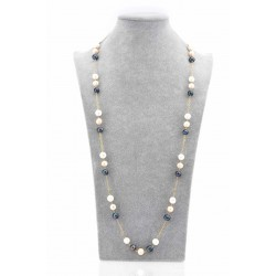 3 TONE CLASSIC PEARL WITH GOLD FILLED CHAIN NECKLACE