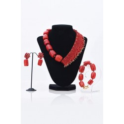 2 SIDED RED CORAL WITH FRIDGE NECKLACE SET