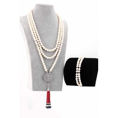 3 LAYER CREAM PEARL WITH FOCAL TASSEL NECKLACE AND BRACELET