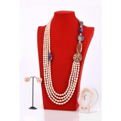 CHAMPAGNE PEARL AND STONE NECKLACE SET