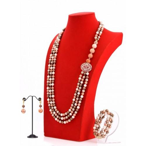 3 Tone Shell Pearl Asymmetrical  Necklace Set