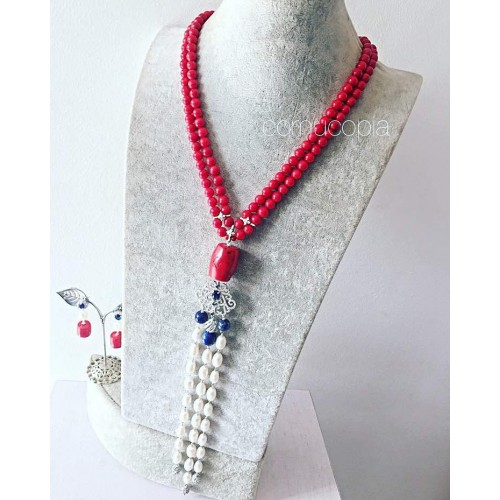 2 LAYER RED CORAL WITH MIX OF CORAL, LAPIS AND CREAM PEARL NECKLACE AND EARRING