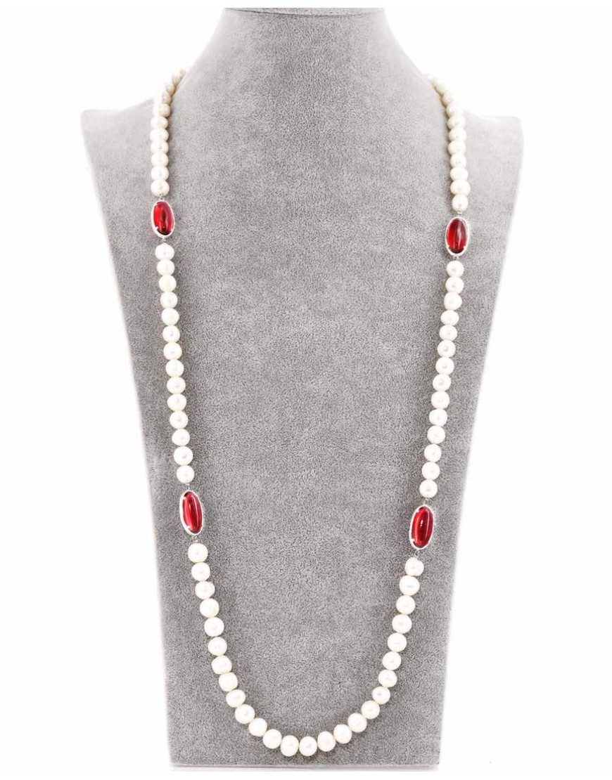 CREAM PEARL NECKLACE WITH WINE COLOURED  NUGGET