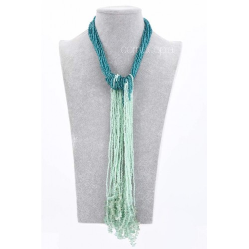 Teal Ethnic Tassel Necklace