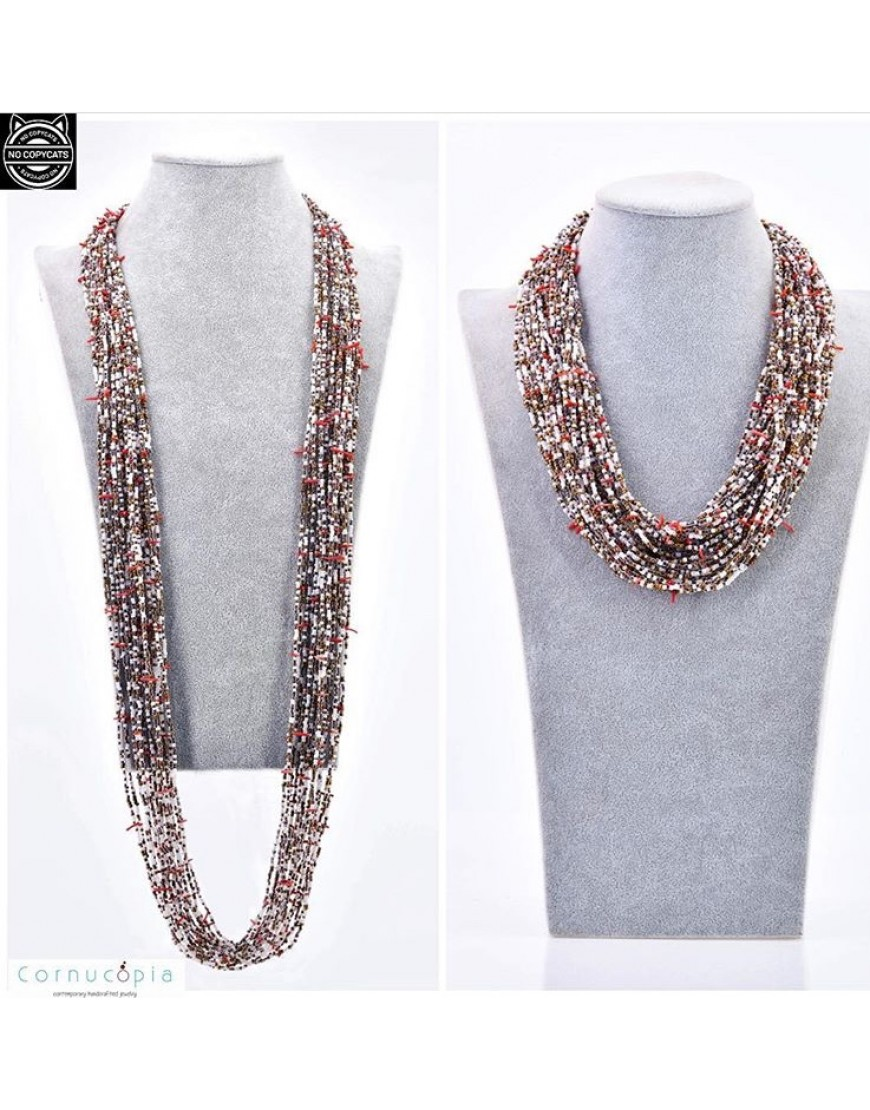 SEED BEAD NECKLACE WITH CORAL SPRINKLES