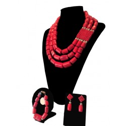 RED TRADITIONAL CORAL WITH WOVEN BOX NECKLACE SET
