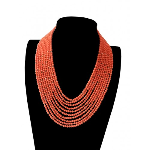 10 LAYER PEACH CORAL WITH SCATTER GOLD BALL (OMASAN) NECKLACE SET