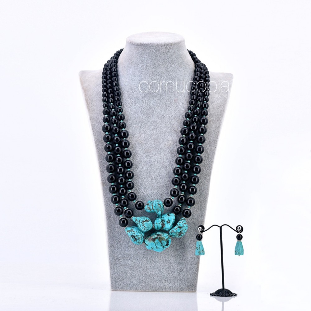 ONYX & TURQUOISE NECKLACE AND EARRING