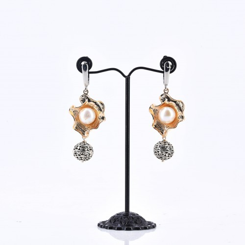 OYSTER MIXED METAL EARRING