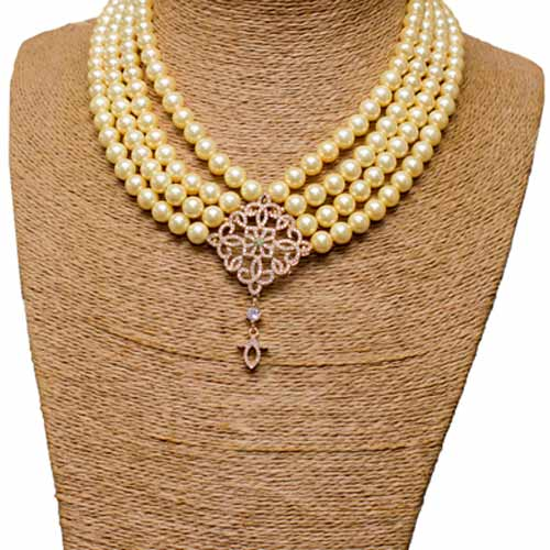 4 Layer Yellow Shell Pearl with Front Focal Pendant