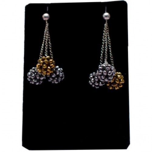 Gold And Silver With Sterling Silver Chain Earring