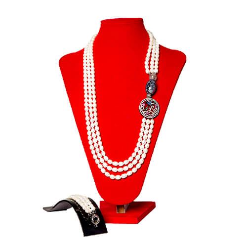 Pearl & Stone Necklace Set