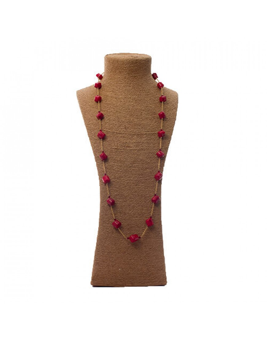 "Red Cube Coral 36"" Long Gold Filled Chain Necklace"