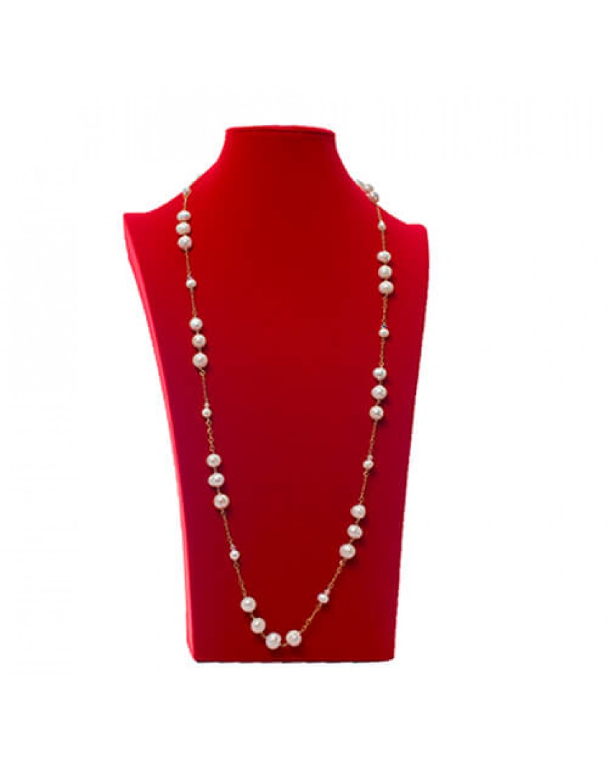 "Classic Pearl 36"" Gold filled Chain Necklace"