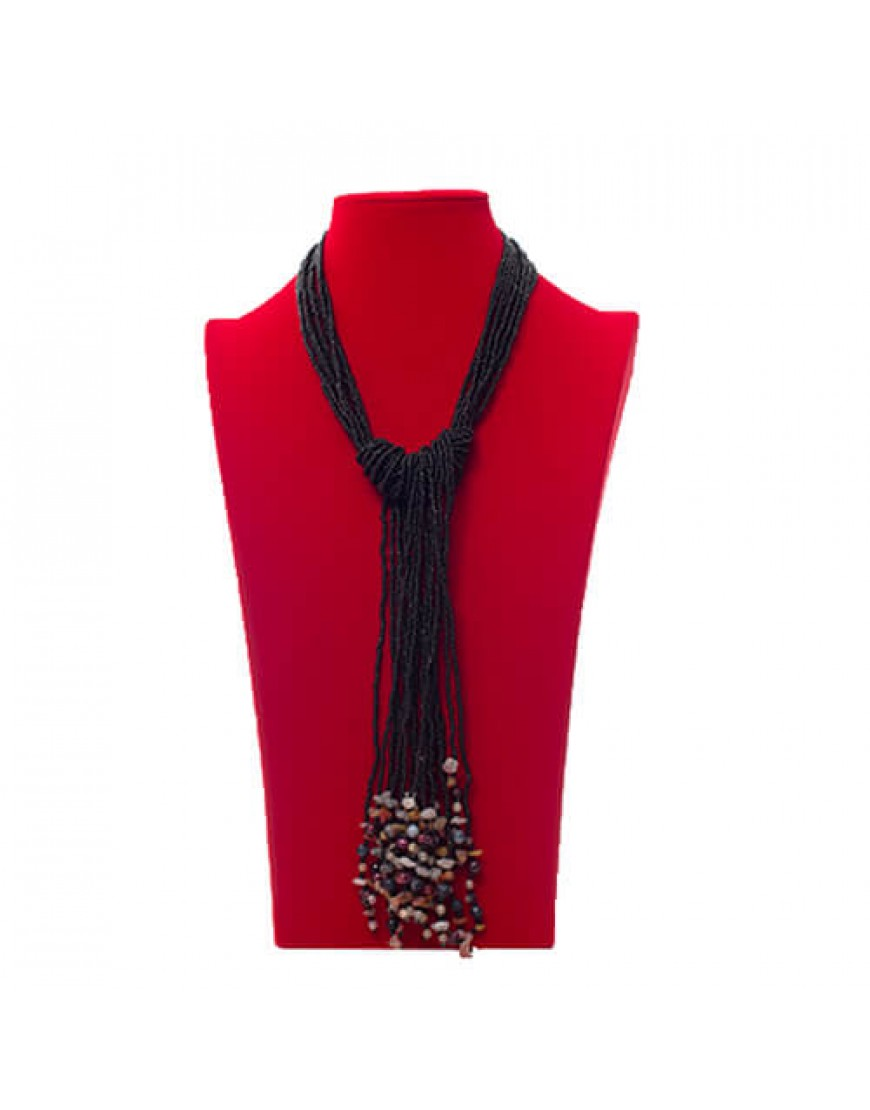 Black Ethnic Tassel Necklace