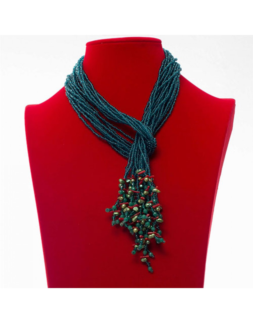 Teal Ethnic Tassel Necklace