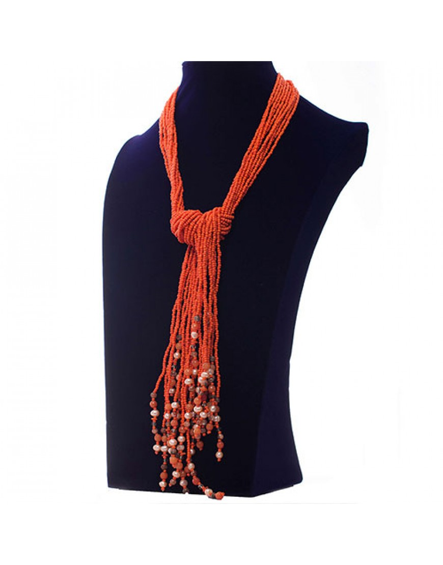 Orange Ethnic Tassel Necklace