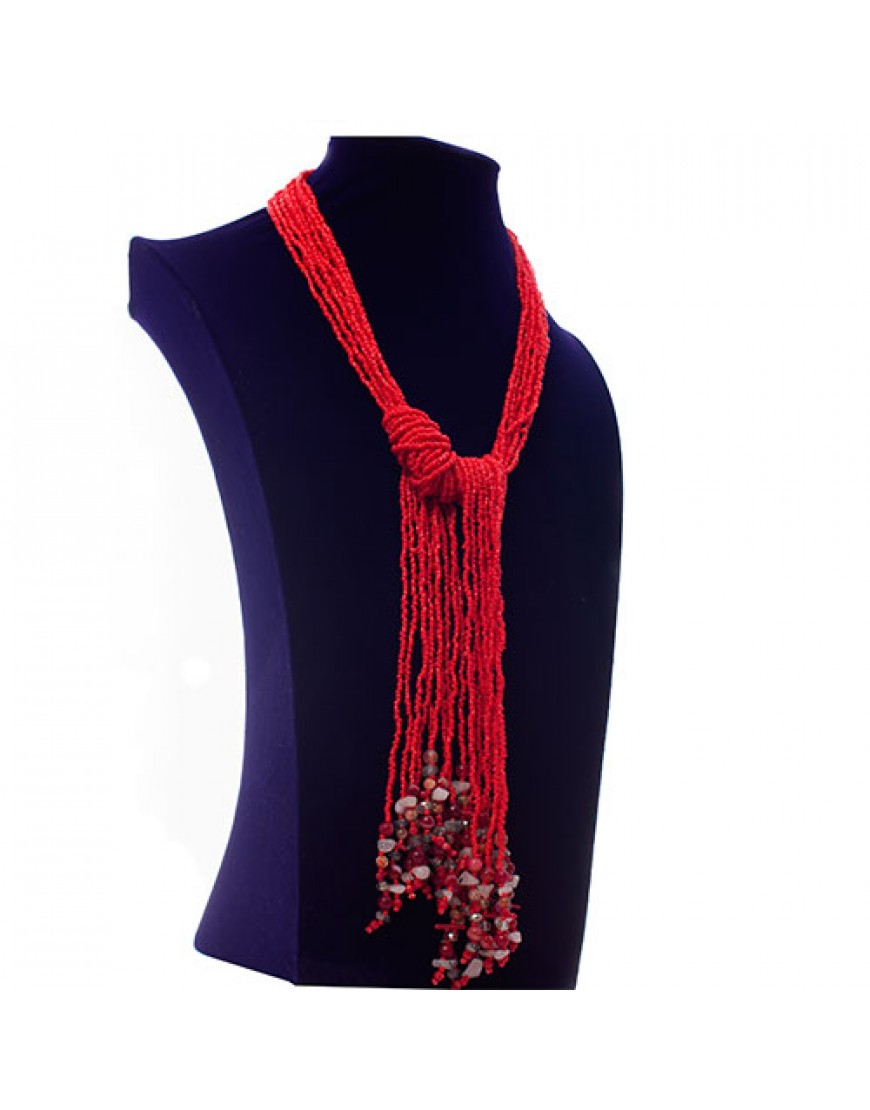 Red Ethnic Tassel Necklace
