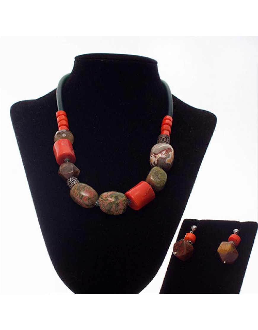 Unakite & Coral Ethnic-Style Necklace