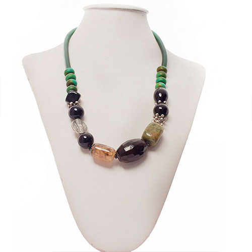 Turquoise & Onyx  Ethnic-Style Necklace