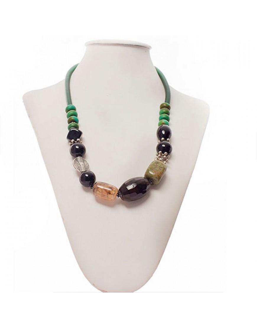 Turquoise & Onyx  Ethnic-Style Necklace
