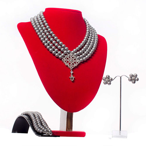 Grey Shell Pearl Necklace Set With Silver Front Focal
