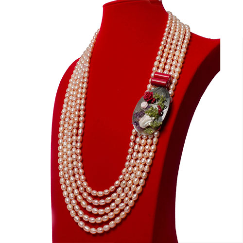 Blush Pearl Necklace With Grey Shell & Red Coral Side Focal Set