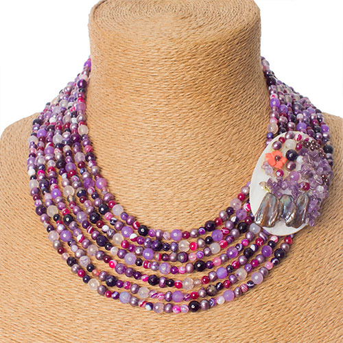 Purple Mixed Gem Necklace With Shell Side Focal