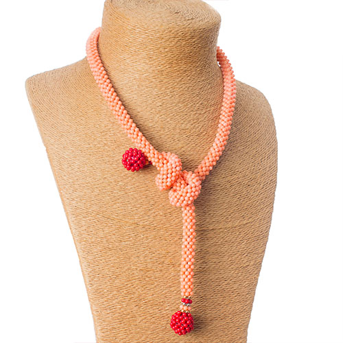2 Tone (Peach & Red) Coral Versatile Necklace Only