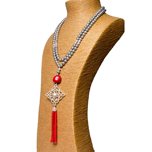Grey Shell Pearl & Coral Tassel Necklace Set