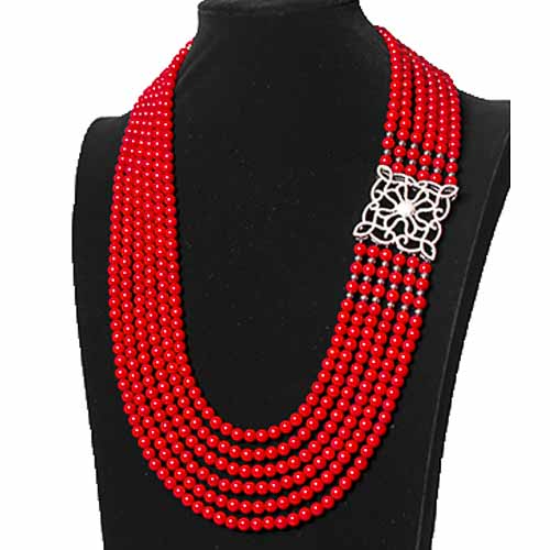6 Layer Red Coral With Gold Ball and Squre Pedant