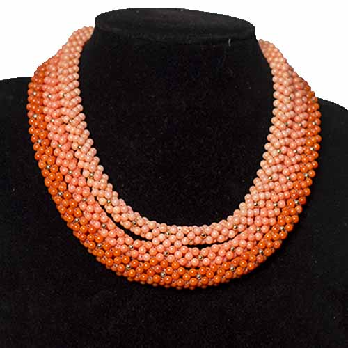 Woven Ombré Coral Necklace Set
