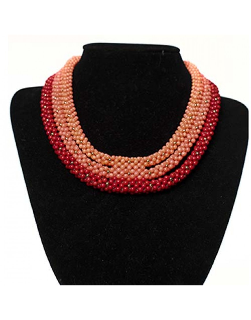 Peach, Pink & Red Woven Coral Necklace Set