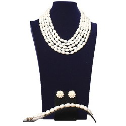 5 Layer Cream Rice Pearl & Swarovski Necklace set