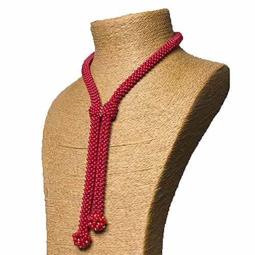 Red Coral Woven Tie Necklace & Earring