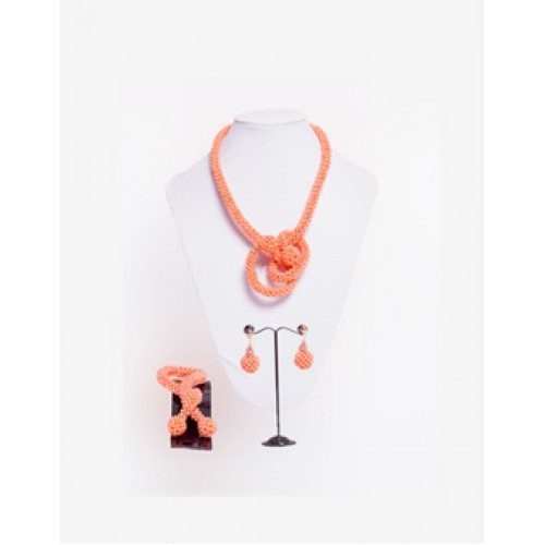Peach Coral Versatile Necklace Set